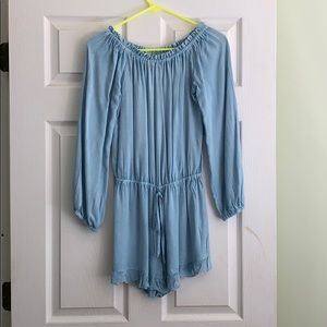 Women's Chambray Off the Shoulder Romper